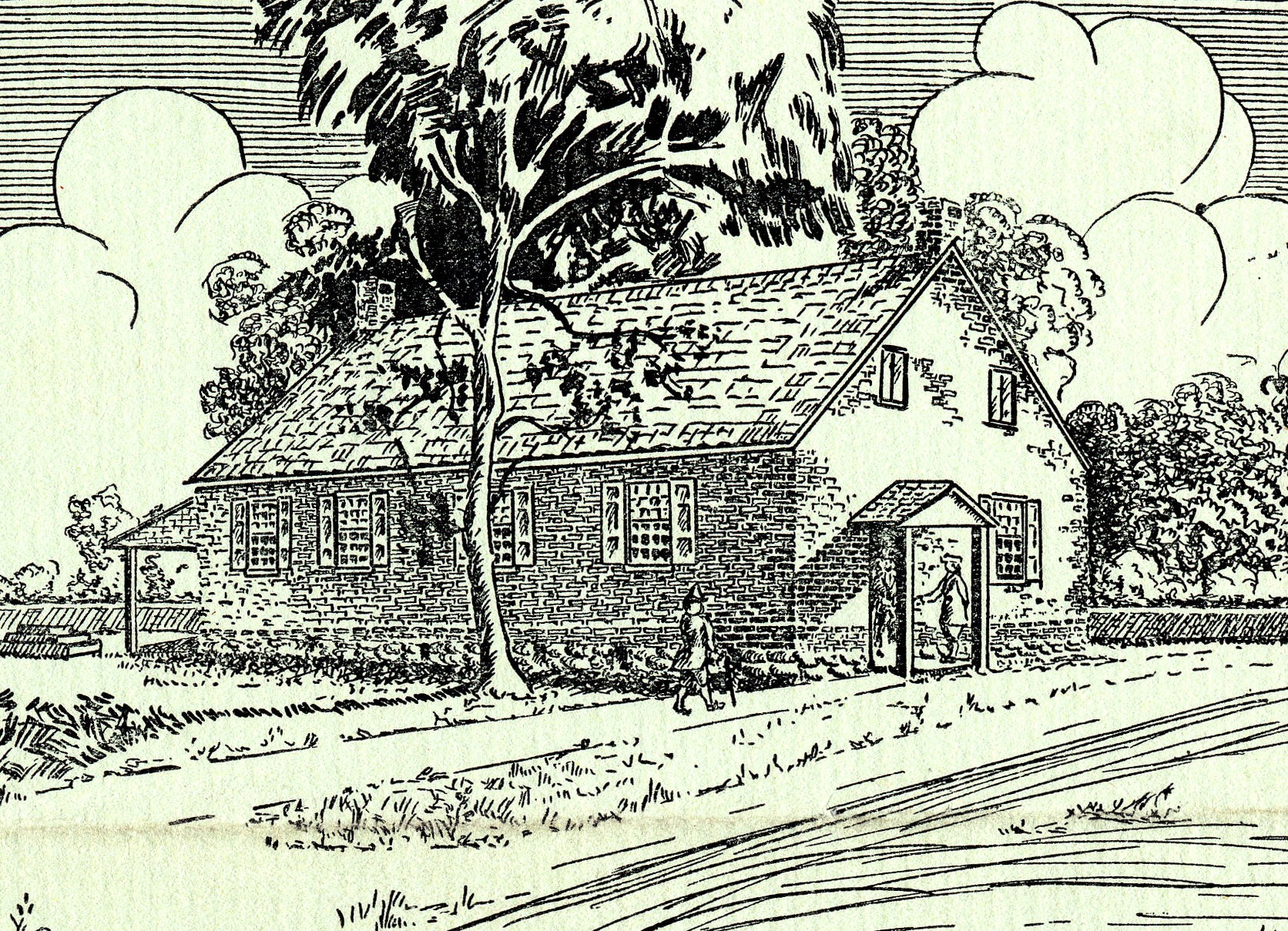 drawing of Quaker Meeting House