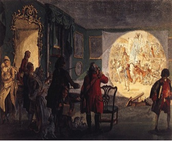Painting of Men Operating a Projector in a Dark Room